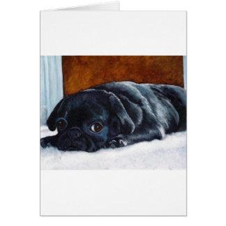Black Pug Puppy Greeting Card