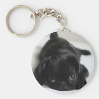 Black Pug Puppy Key Ring