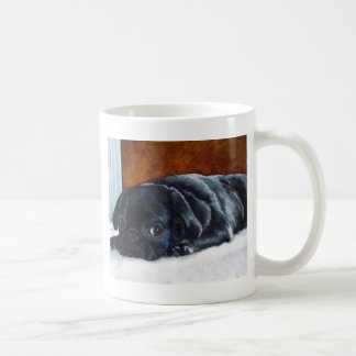 Black Pug Puppy Classic White Coffee Mug