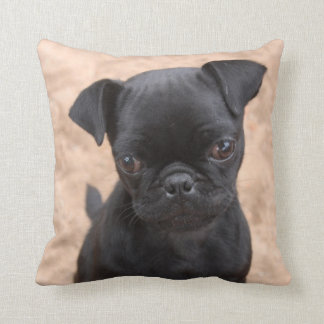 Black pug puppy pillow