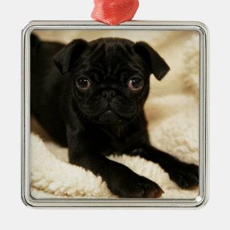 Black Pug Puppy Silver-Colored Square Decoration