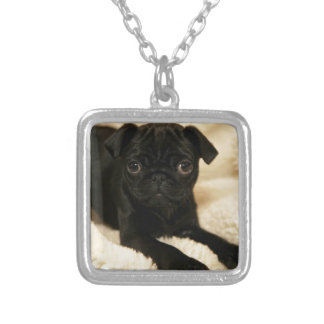 Black Pug Puppy Silver Plated Necklace