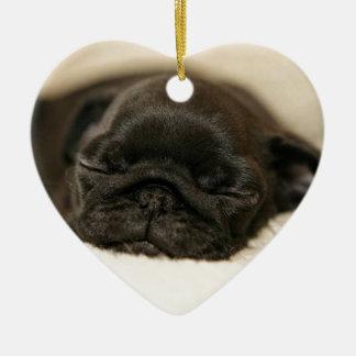 Black Pug Puppy Sleeping Ceramic Heart Decoration