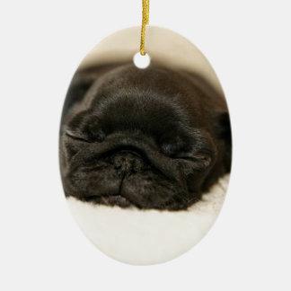 Black Pug Puppy Sleeping Ceramic Oval Decoration