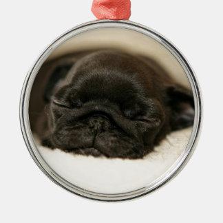Black Pug Puppy Sleeping Christmas Ornament