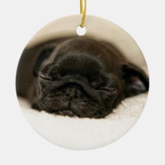Black Pug Puppy Sleeping Round Ceramic Decoration