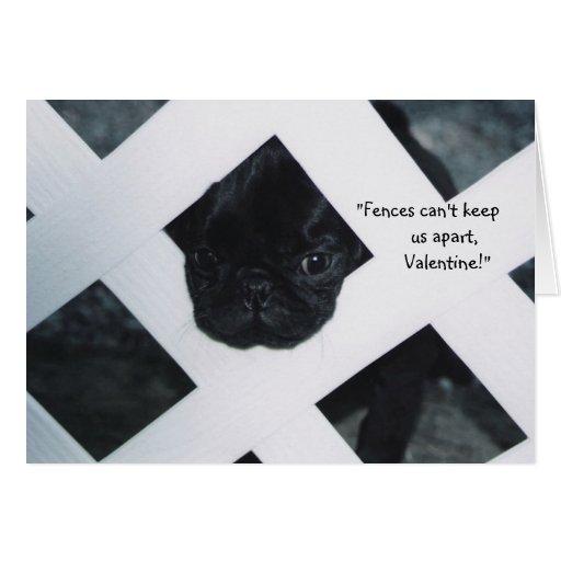 Black Pug Puppy Valentine's Day Greeting Card