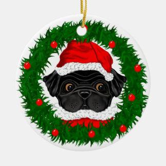 Black Pug Santa Christmas Ornament