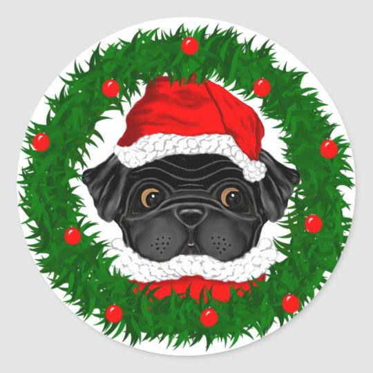 Black Pug Santa Classic Round Sticker