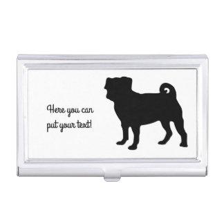 Black Pug Silhouette - Simple Vector Design Business Card Holder