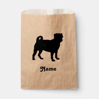 Black Pug Silhouette - Simple Vector Design Favour Bags