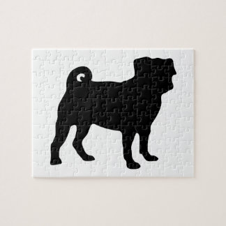 Black Pug Silhouette - Simple Vector Design Jigsaw Puzzle