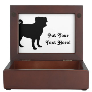 Black Pug Silhouette - Simple Vector Design Memory Boxes