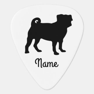 Black Pug Silhouette - Simple Vector Design Plectrum