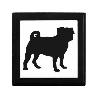 Black Pug Silhouette - Simple Vector Design Small Square Gift Box