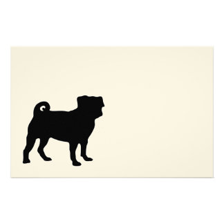 Black Pug Silhouette - Simple Vector Design Stationery