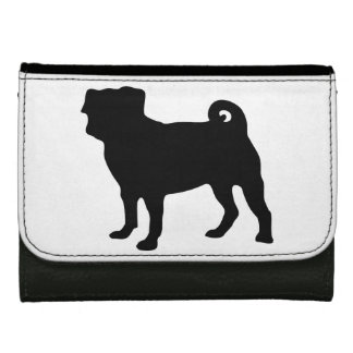 Black Pug Silhouette - Simple Vector Design Women's Wallets