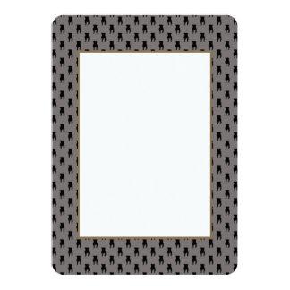 Black Pug Silhouettes on Grey Background 13 Cm X 18 Cm Invitation Card