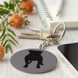 Black Pug Silhouettes on Grey Background Key Ring