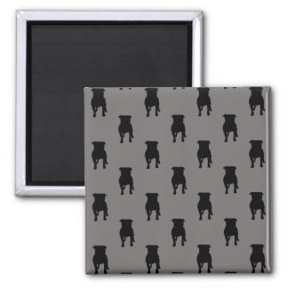 Black Pug Silhouettes on Grey Background Square Magnet