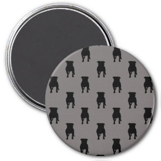 Black Pug Silhouettes on Grey Background 7.5 Cm Round Magnet