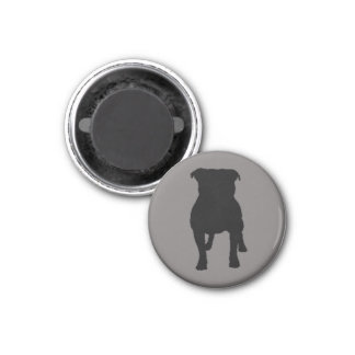 Black Pug Silhouettes on Grey Background 3 Cm Round Magnet