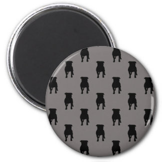 Black Pug Silhouettes on Grey Background 6 Cm Round Magnet
