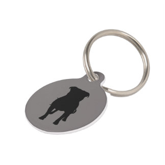 Black Pug Silhouettes on Grey Background Pet Tag