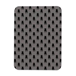 Black Pug Silhouettes on Grey Background Rectangular Photo Magnet