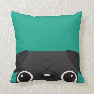 Black Pug -Teal Pillow
