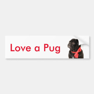 Black pug  with red bow Love a pug Bumper Sticker