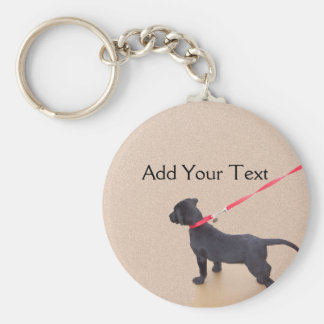 Black Puppy Prints on the Beach Keychain
