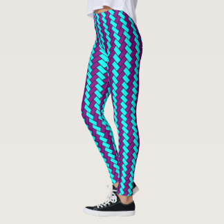 Black Purple and Aqua Herringbone Leggings