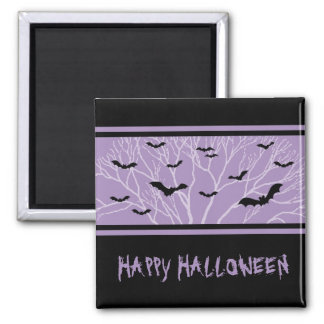 Black Purple Bats Happy Halloween Magnet