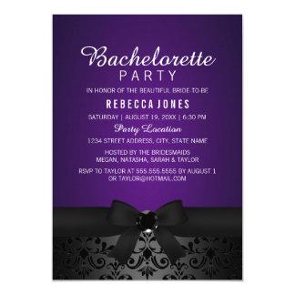 Black & Purple Bow Bachelorette Party Invite