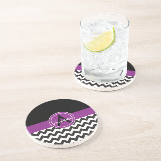 Black Purple Chevron Coaster