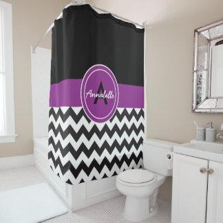Black Purple Chevron Shower Curtain