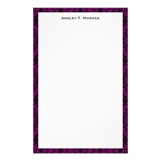 Black / Purple Damask Framed Personalized Stationery Design