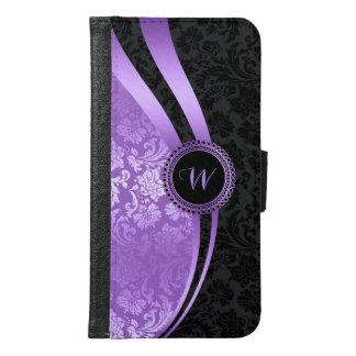 Black & purple damasks geometric design samsung galaxy s6 wallet case
