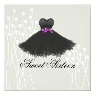 Black & Purple Dress Design Birthday Invitation