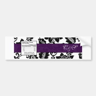 Black/Purple Floral Damask Wedding Bottle Label Car Bumper Sticker