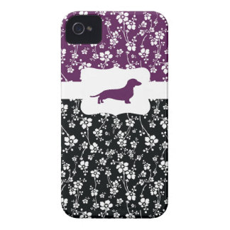 Black&Purple Floral  w/Dachshund iPhone 4 Case