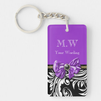 Black purple Flower swirl floral pattern Double-Sided Rectangular Acrylic Key Ring
