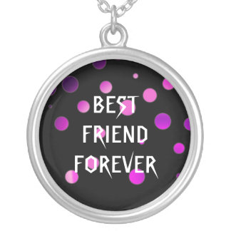 Black Purple Glitter Foil Best Friends Forever Round Pendant Necklace