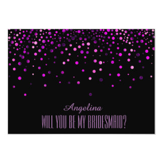 Black Purple Glitter Will you be my bridesmaid? Card