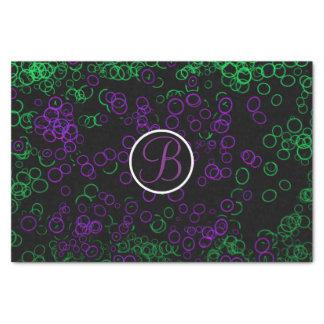 Black Purple Glow Circles Monogram Letter Initial Tissue Paper