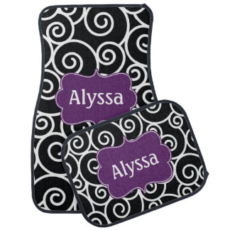 Black Purple Grape Swirl Personalized Car Mat