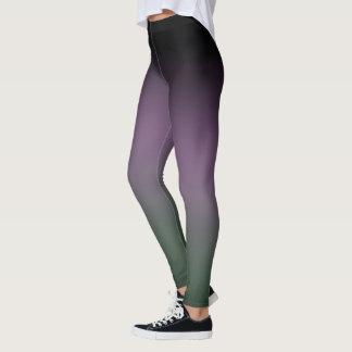 Black Purple Green Gradient Fade Leggings