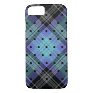 Black Purple Grey Tartan Plaid Black Polka Dot iPhone 8/7 Case