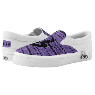 Black/Purple Halloween Witch Fun Font Art Pattern Slip-On Shoes